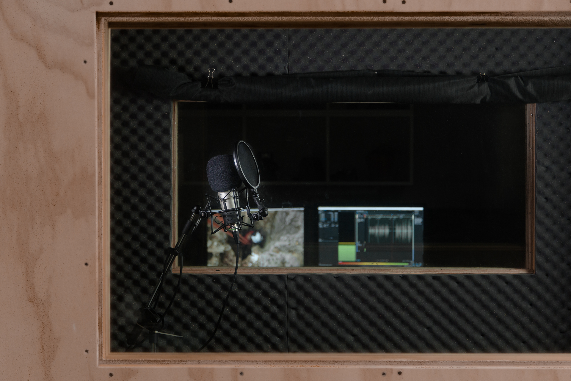 Sound booth voice over recording